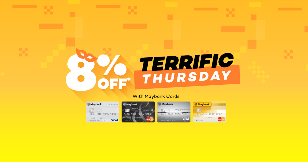 Lazada Singapore 8% Off for Maybank Cards every Thursday!