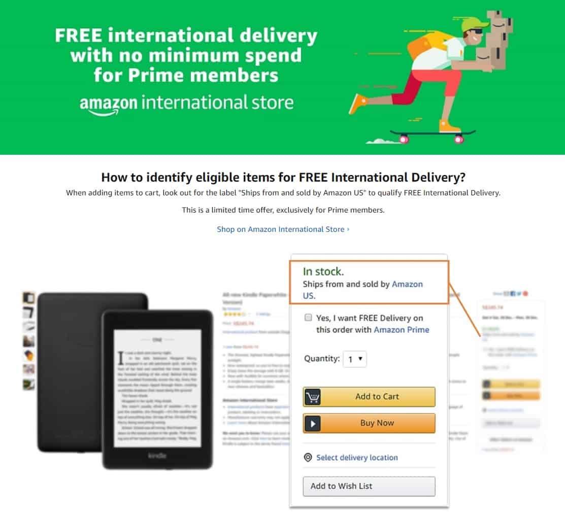 Amazon Free International Delivery