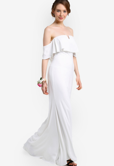 White Ruffle Dress Zalora