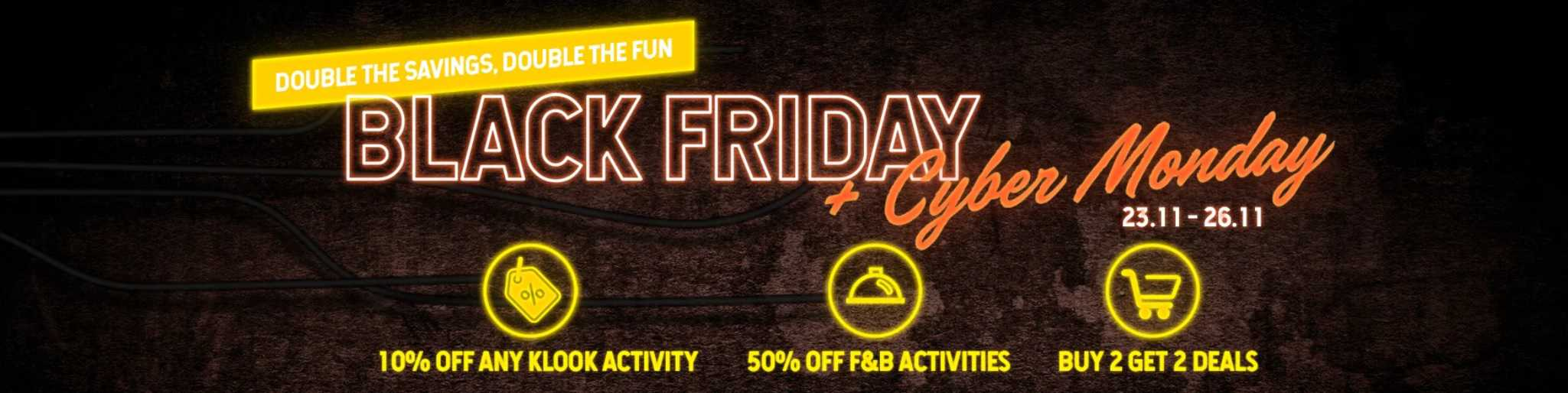 Klook Black Friday Cyber Monday 2-for-2